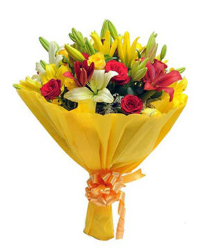 mixedroses,lilies,gift,onlineflowerdelivery,special,surprise,present,presentation,colorful