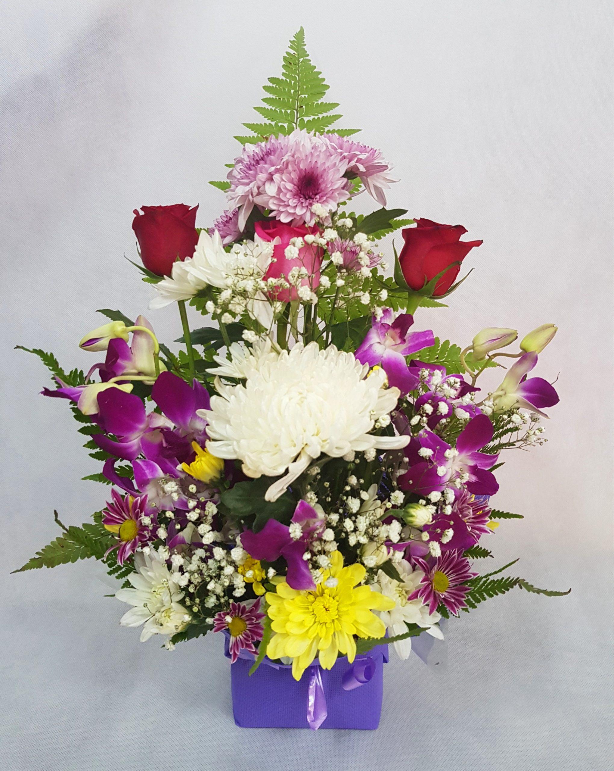 Orchids, Purple, roses,arrangement,gift,onlineflowerdelivery
