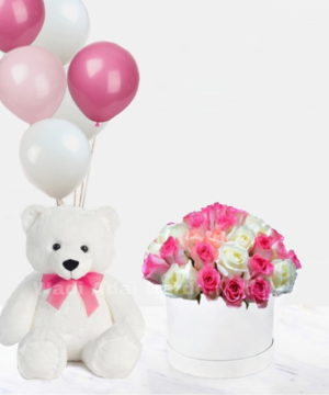 flowers in box with teddy and balloons