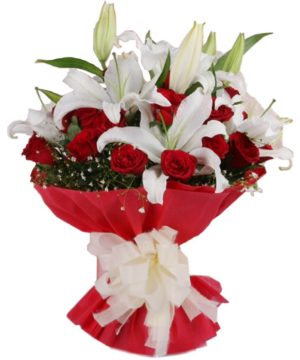 Red roses and White stargazer lilies bouquet